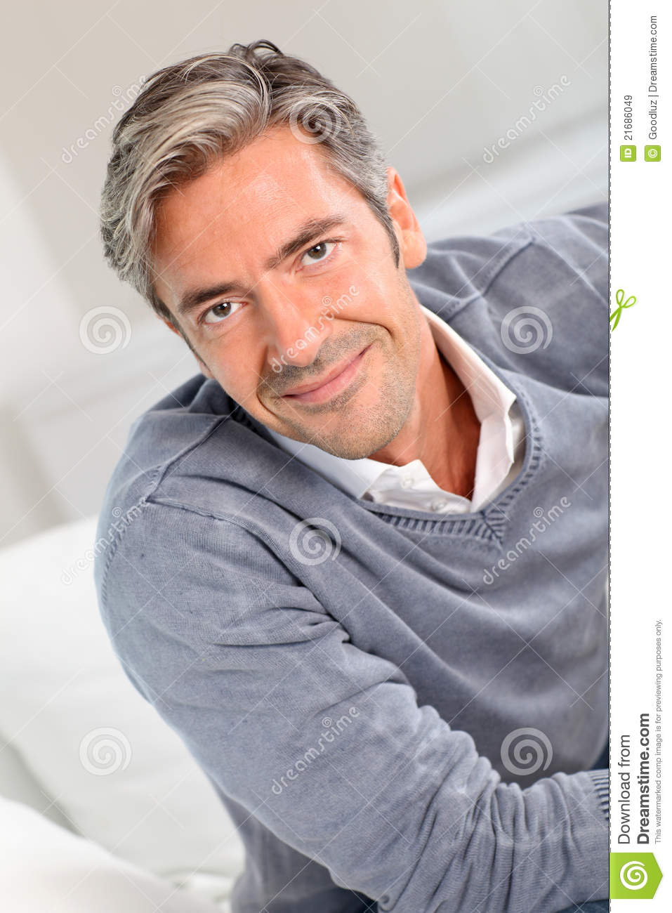 Royalty Free Stock Images: Portrait of smiling mature man with grey ...
