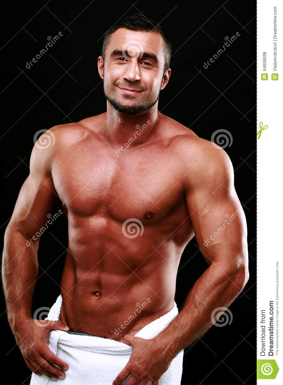 Portrait Of A Smiling Muscular Man Stock Photo Image Of
