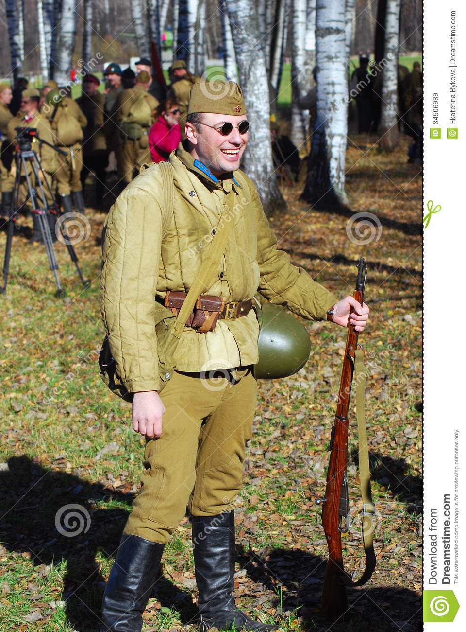 O To Ww Bing Comsquare Root 123: Portrait Of A Smiling Reenactor Editorial Stock Image