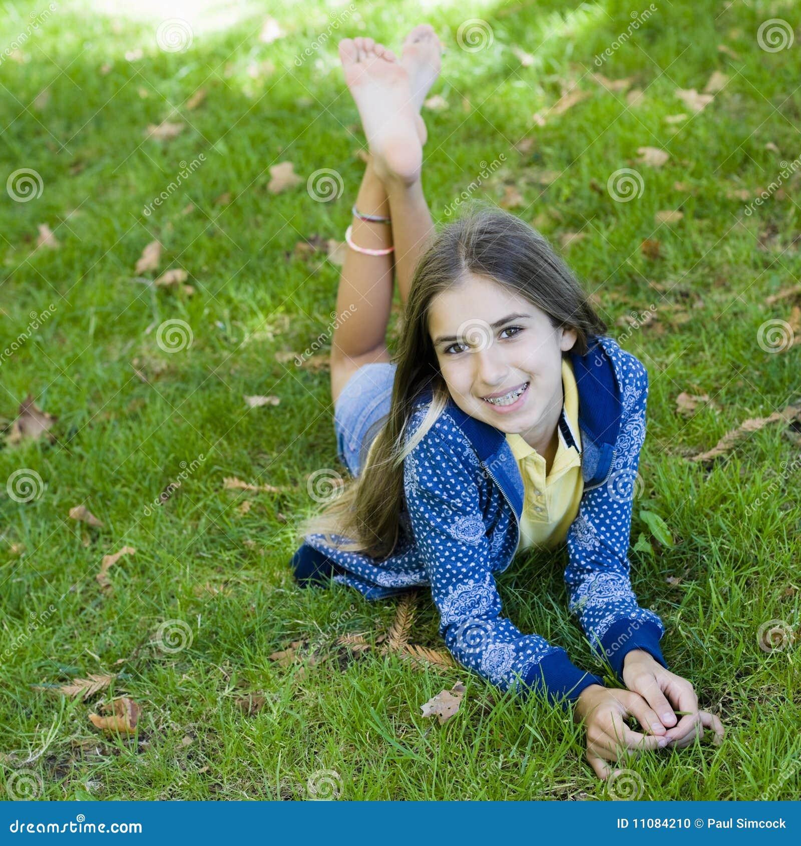 Portrait Of Smiling Tween Girl Stock Photo Image Of Happy