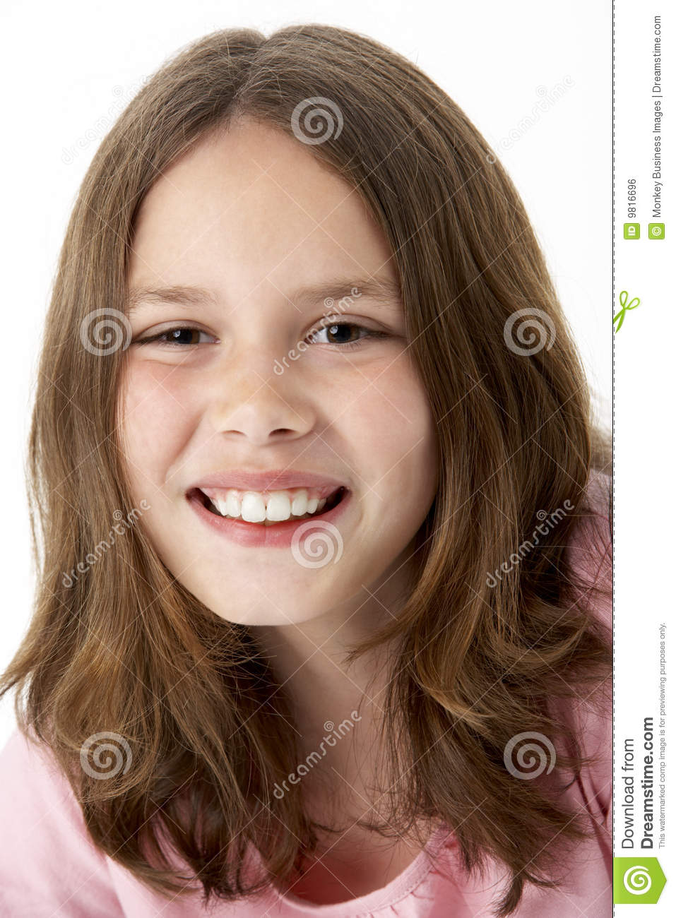 Young Girl Models Nn: Portrait Of Smiling Young Girl Stock Photo