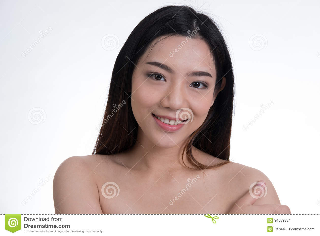 Nude Young Beautiful Girl With Natural Make Up Smiling