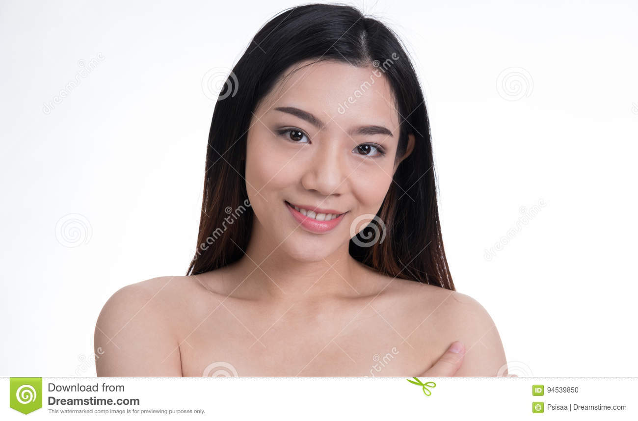 Portrait of young beautiful girl with natural make up