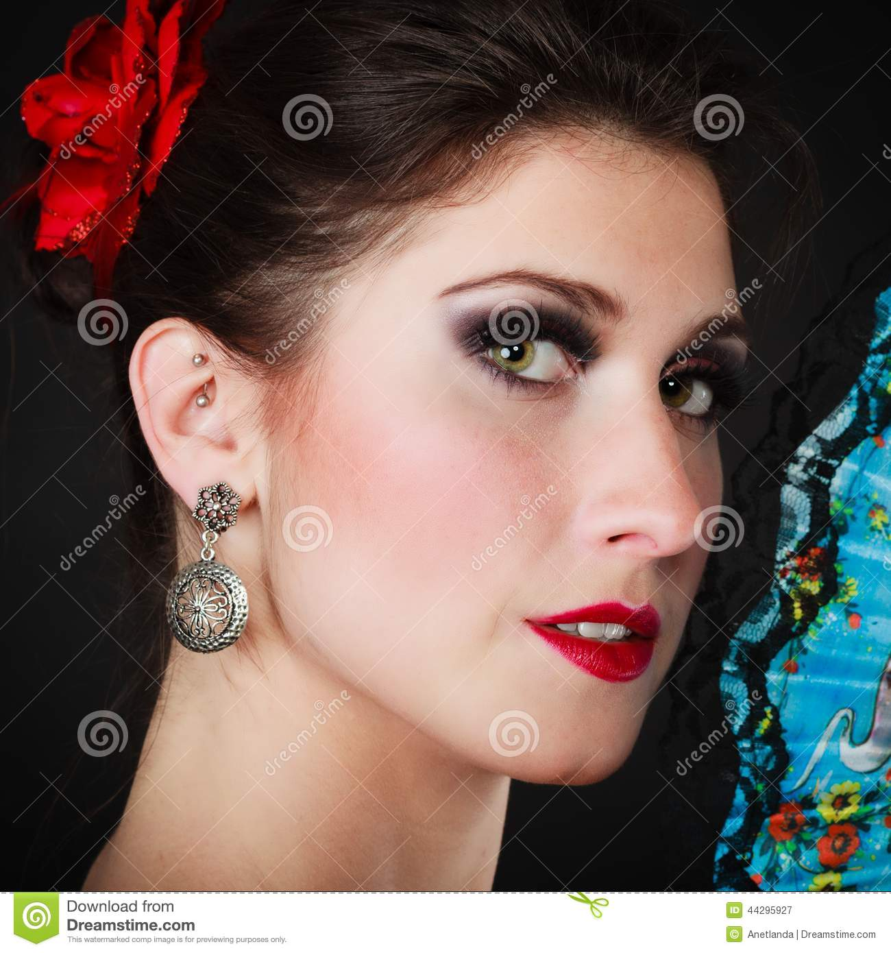 Portrait Of Spanish Girl Flamenco Dancer With Fan Stock -7500