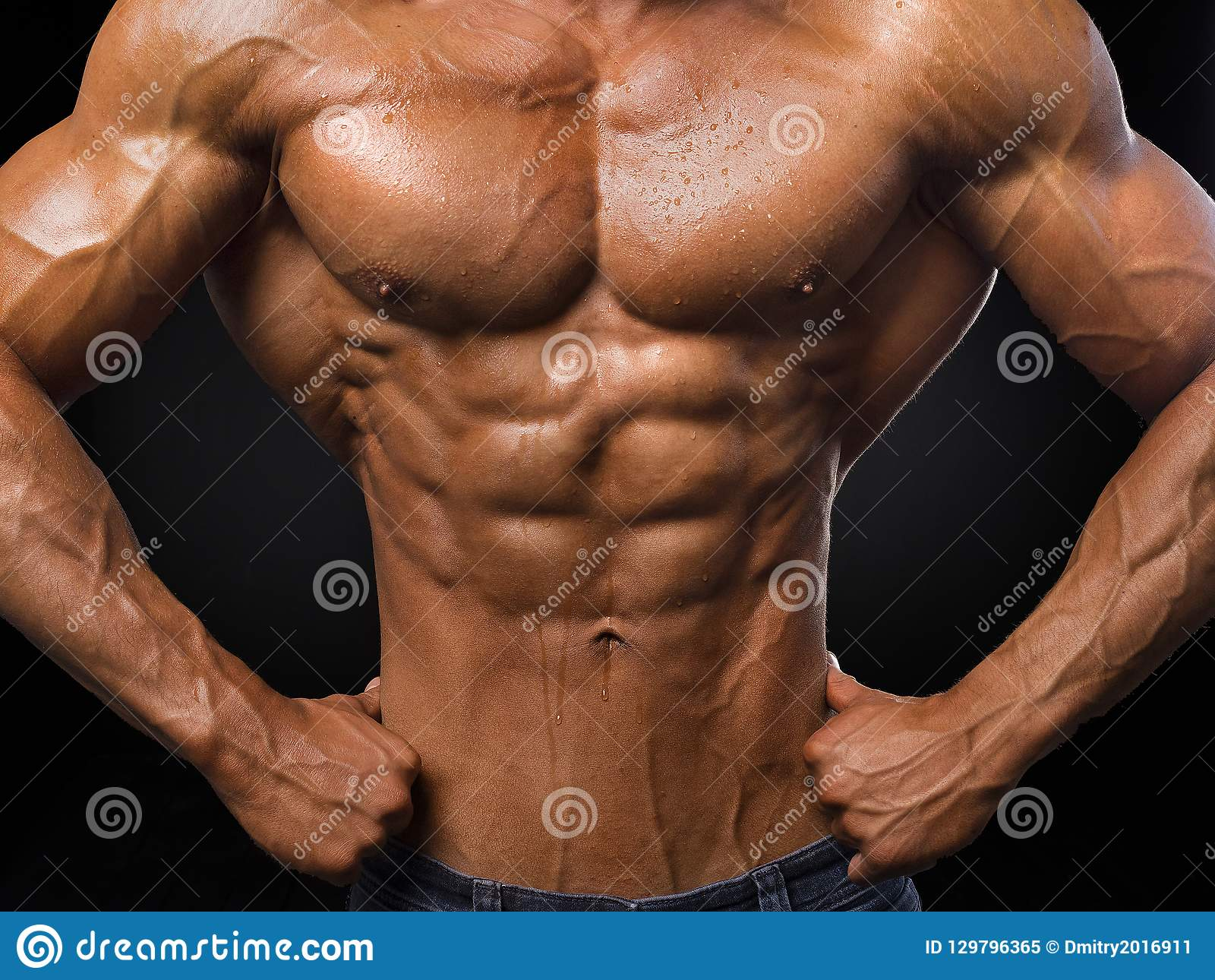 Portrait Of Sporty Strong Muscle Sport Workout Bodybuilding Motivation Concept Naked Torso Six Pack Abs Male Stock Image Image Of Background Healthy 129796365