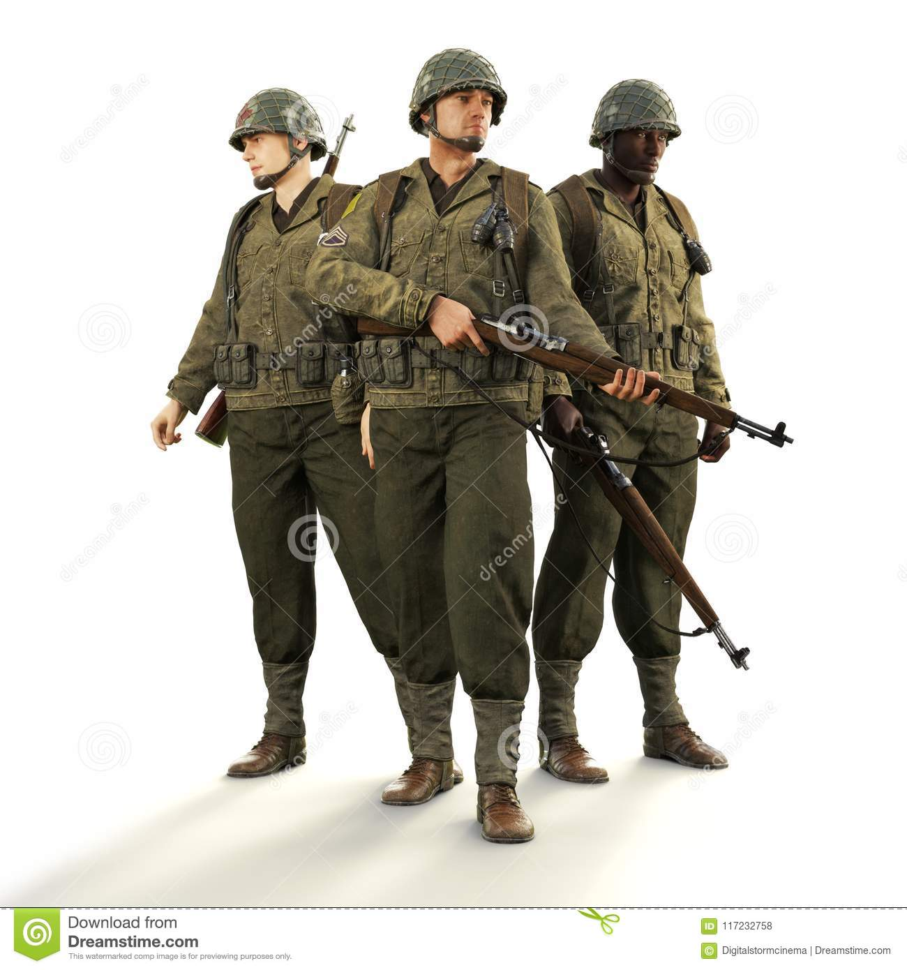 Portrait of a squad of uniformed world war 2 American combat soldiers on an isolated white background.