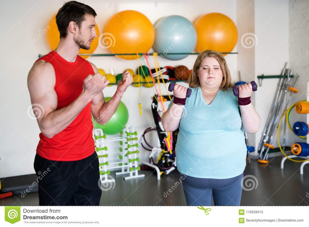 Weight loss Workout in Gym stock image  Image of exercising