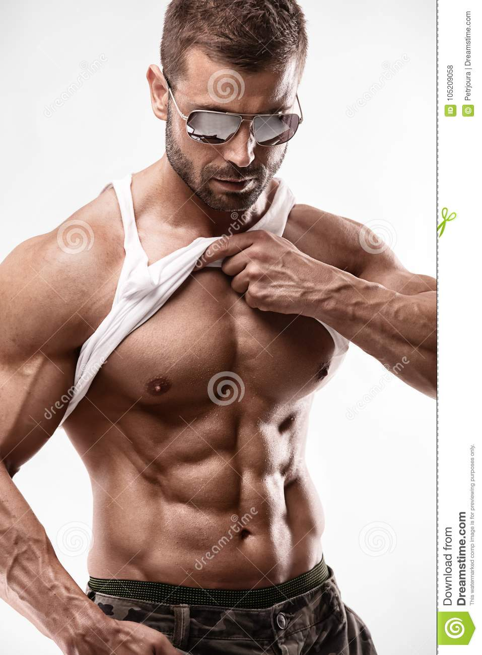 Portrait of strong Athletic Fitness man