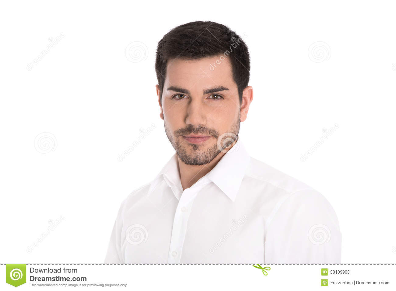 Portrait of successful attractive business man isolated on white.