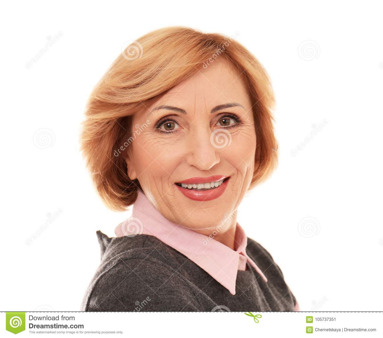 Portrait of successful senior woman isolated