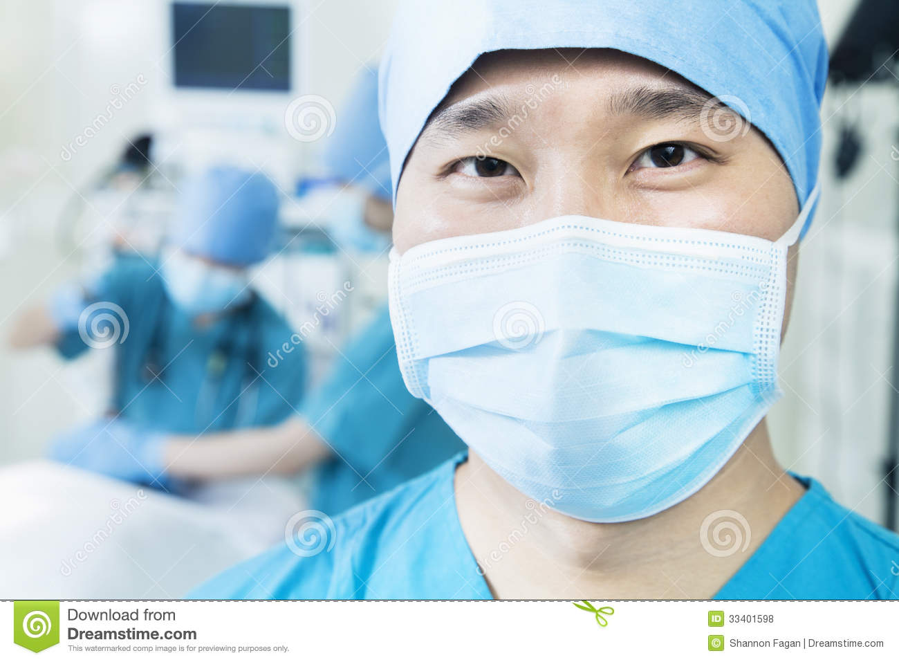 Operating Of In Portrait Surgical Surgeon Mask Room The Wearing