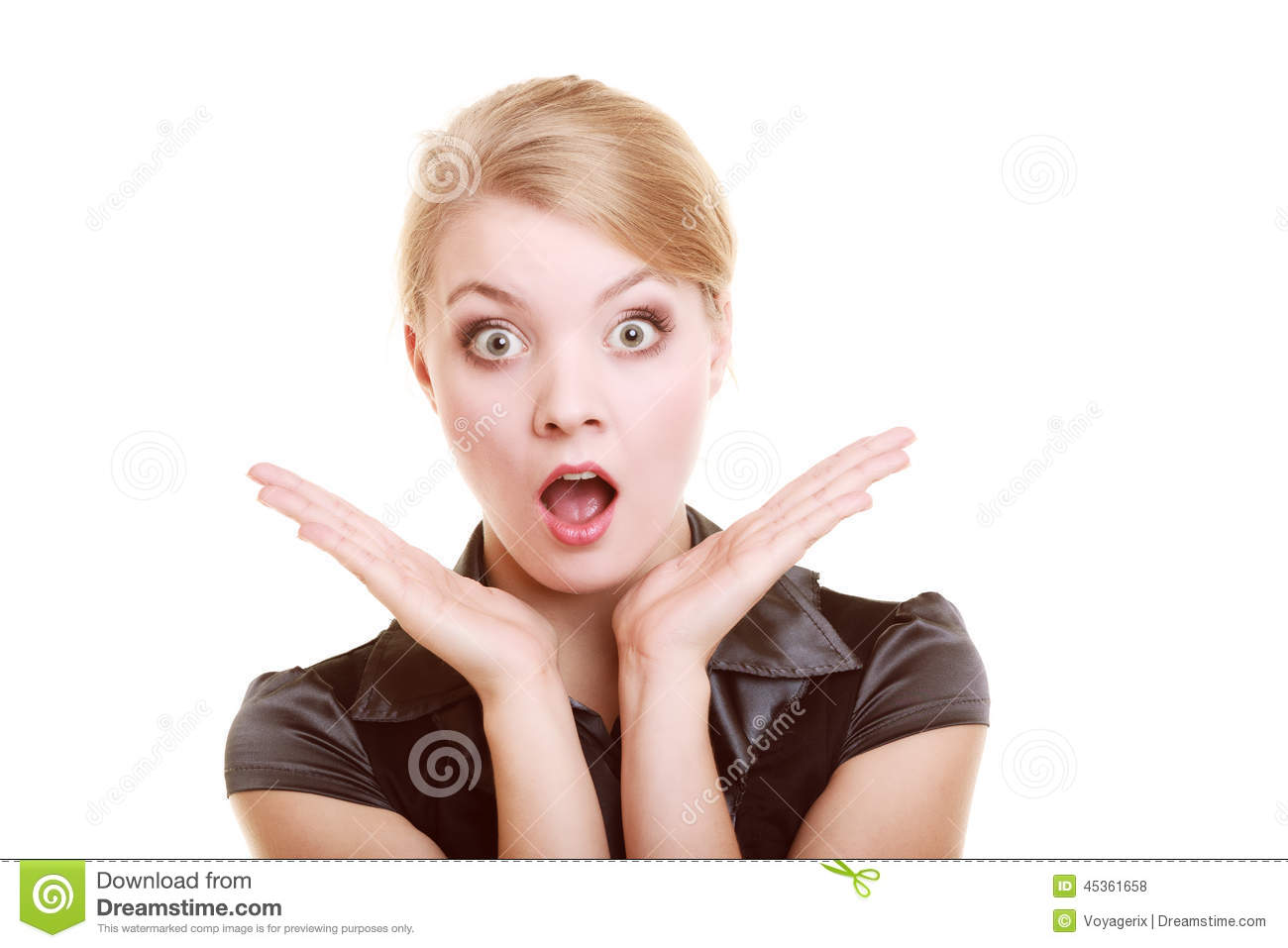 Download Portrait Of Surprised Businesswoman Shocked Woman Stock Photo - Image of attractive, emotional: 45361658