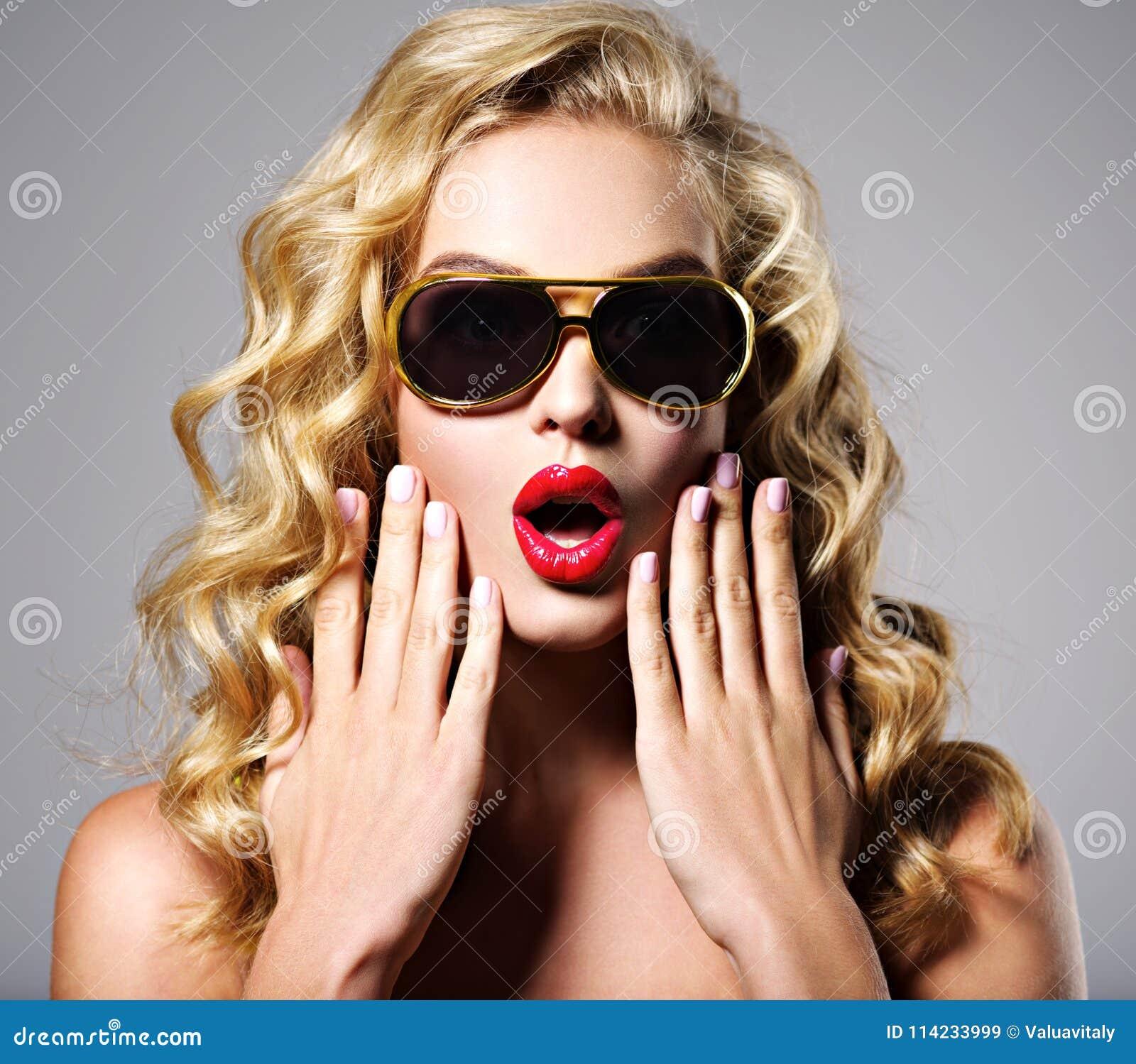 Portrait of a surprised caucasian girl.