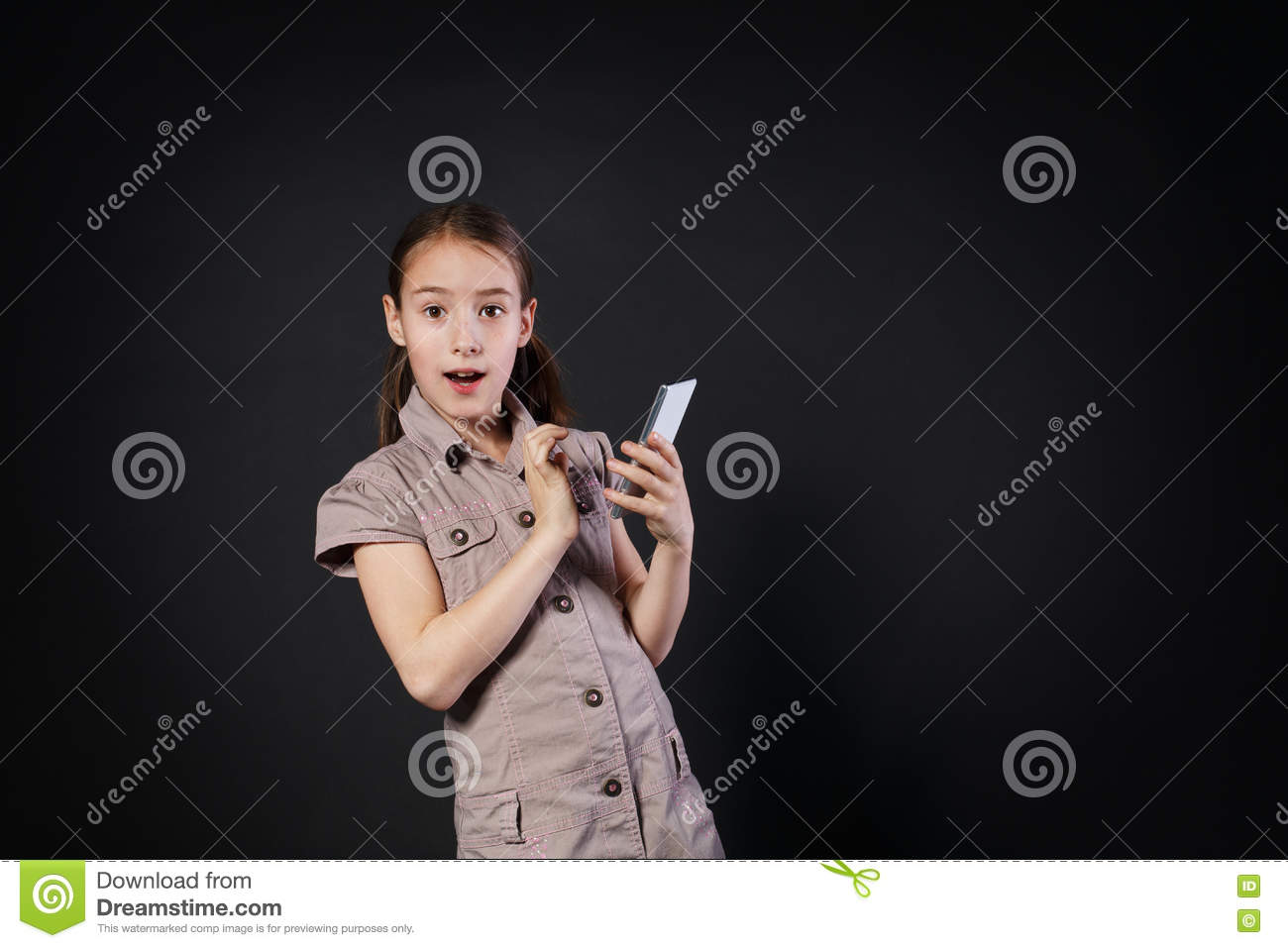 Portrait Of Surprised Girl Touch Screen On Mobile Phone Stock ...