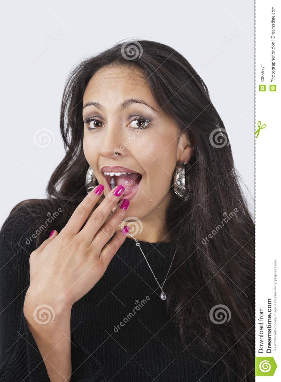 Download Portrait Of Surprised Happy Young Woman With Hand Over Mouth Against White Background Stock Image - Image of happiness, shot: 30855771