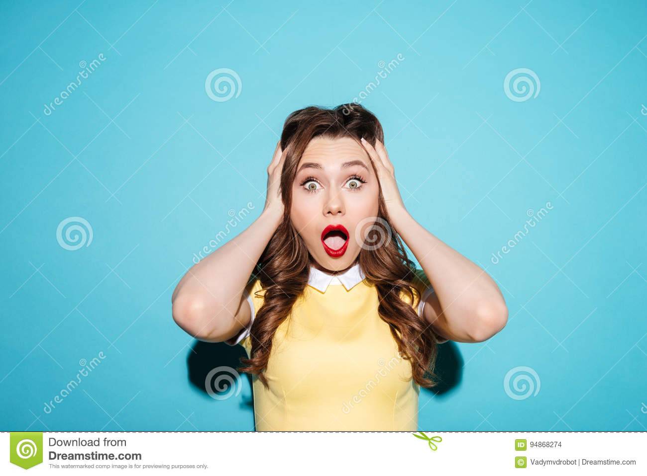 Download Portrait Of A Surprised Shocked Woman In Dress Stock Photo - Image of female, looking: 94868274