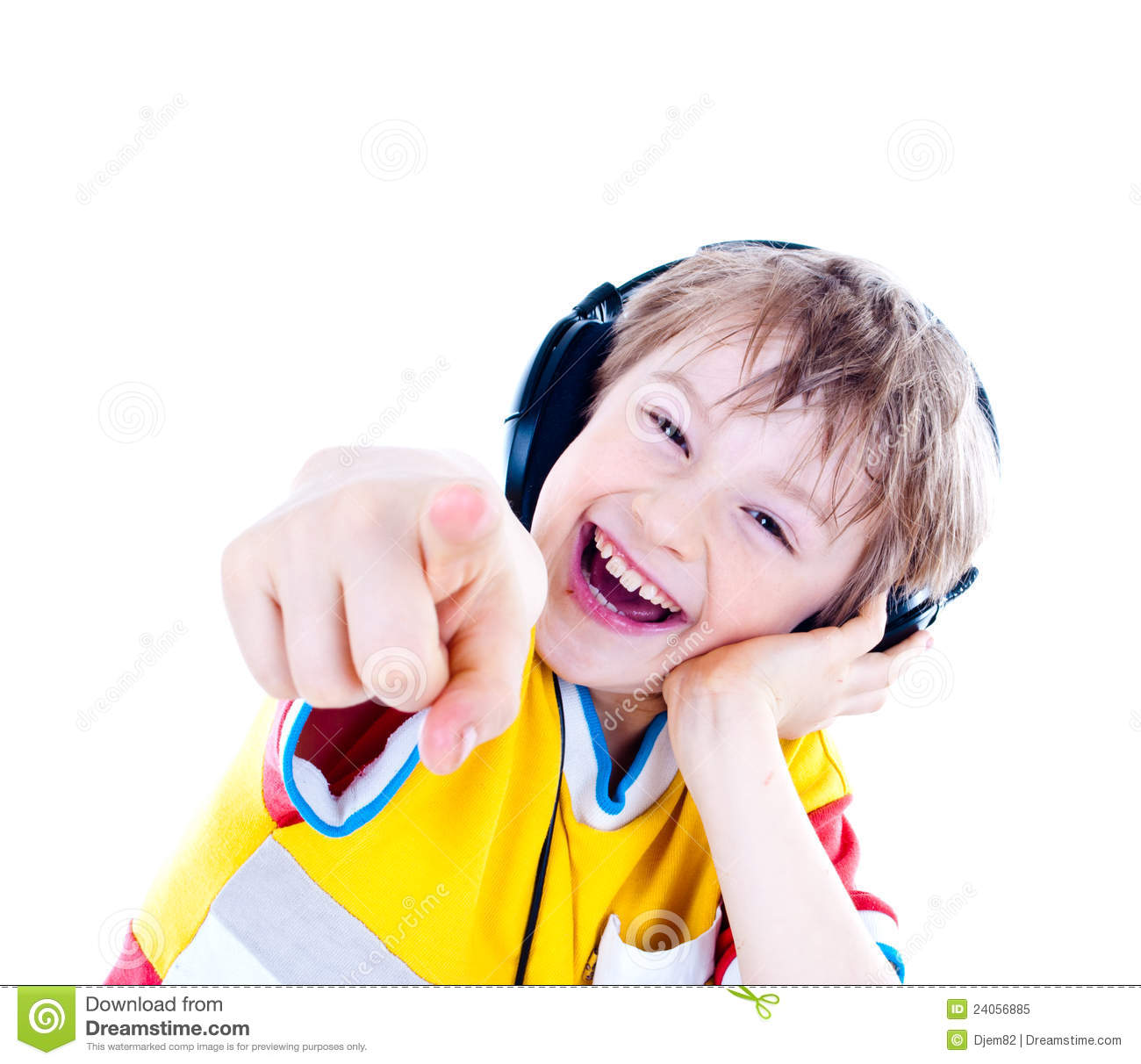 Portrait of a sweet young boy listening to music