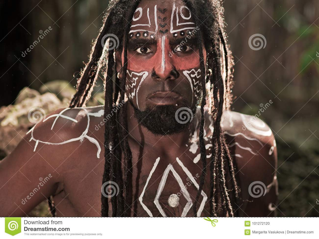 Portrait Of The Taino Indian With Dreadlocks And Red Body Painting