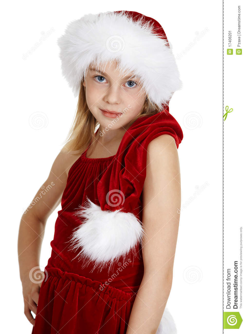 Girl Teen Teenager Transition Age 13 14 15 Years Brunette: Portrait Of Teen Girl In Christmas Costume Stock Image