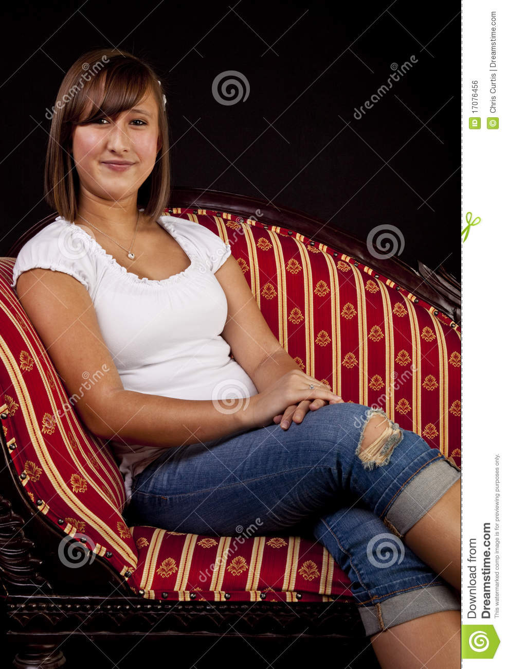 Portrait Of A Teenaged Girl On Sofa Stock Photo Image Of