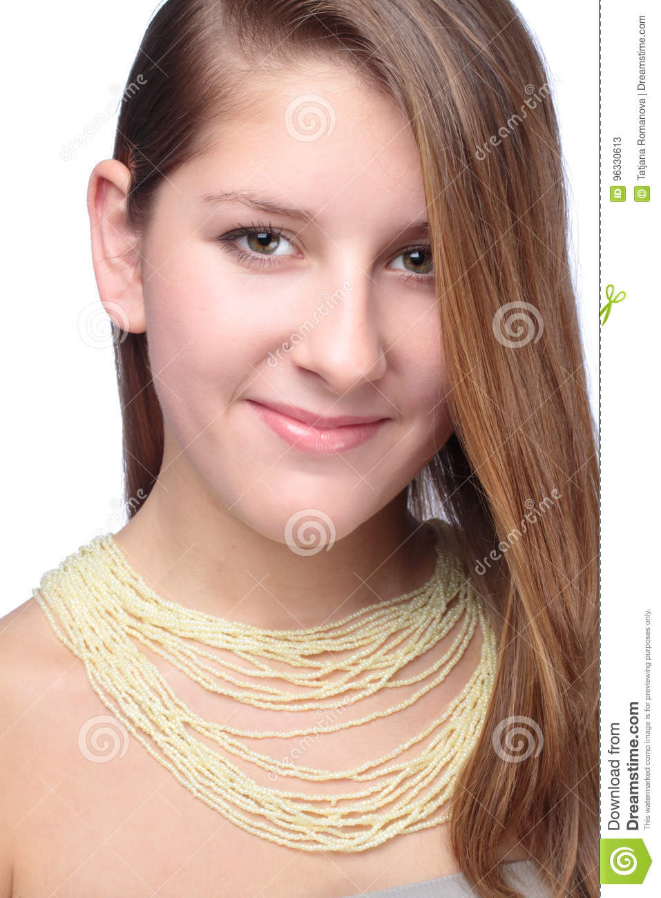 Portrait of teenager with beads