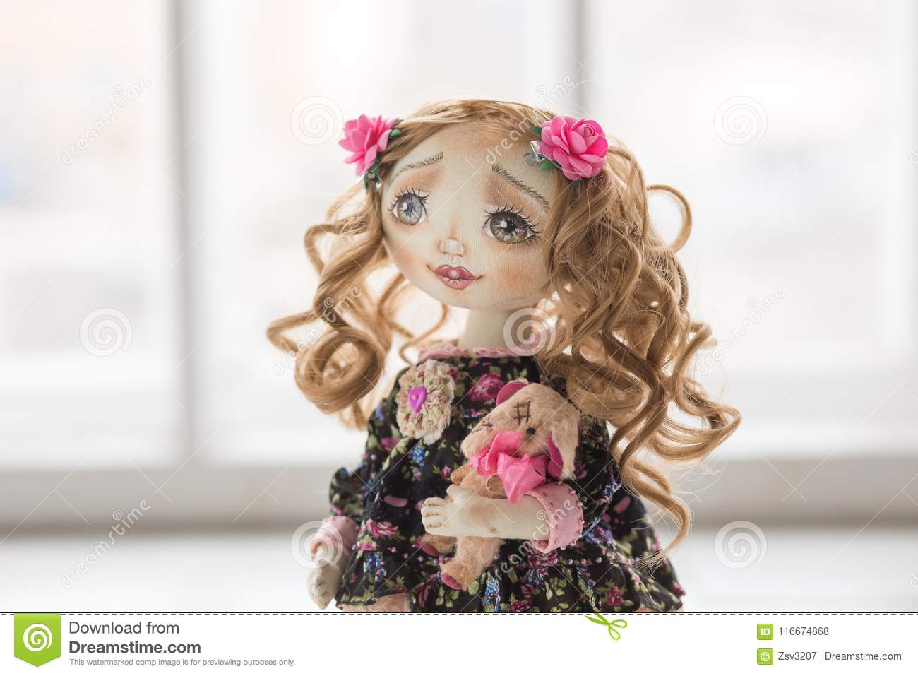 Portrait Of Textile Handmade Vintage Doll With Green Eyes Long