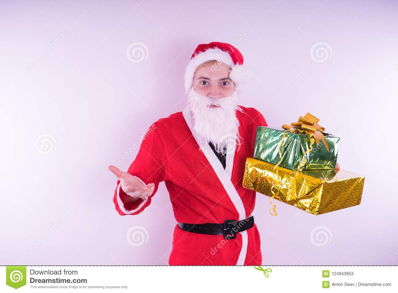 Portrait Of Thin Santa Claus With Christmas Gifts Happy Santa Claus Is Holding Gift Boxes Isolated On White Background Santa Cla Stock Image Image Of Beard Male 124943953