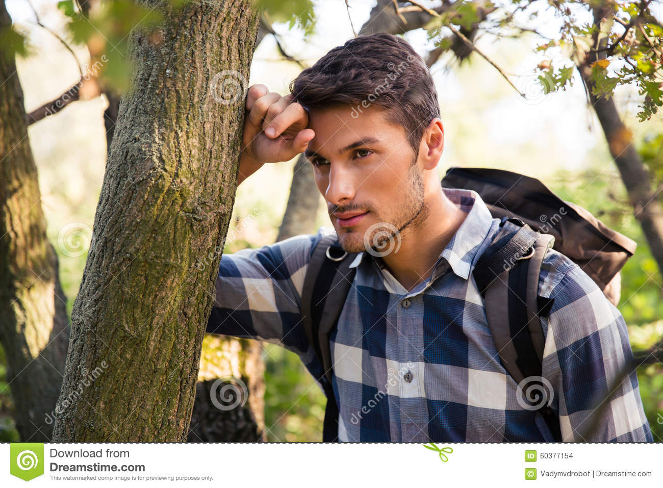 Portrait of a thoughtful male hiker