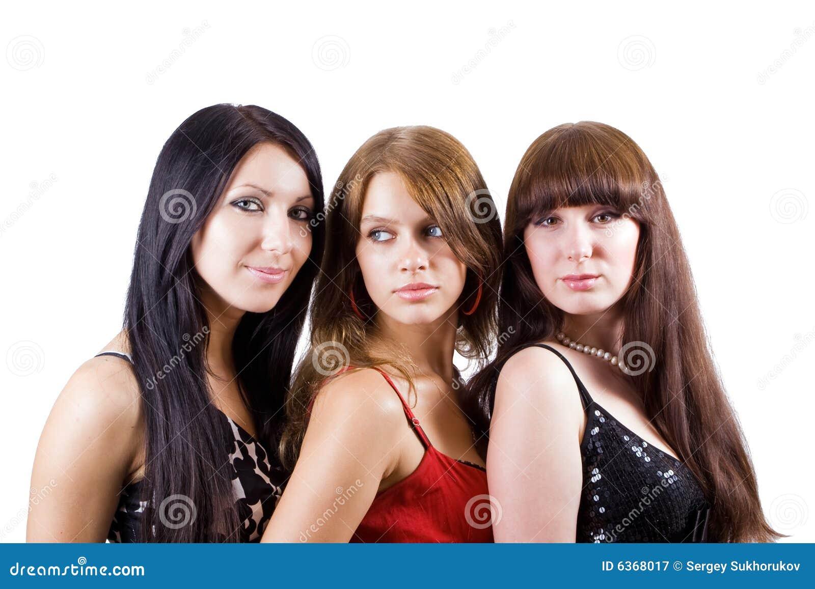 Portrait of three beautiful young women