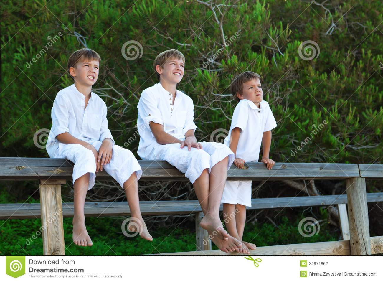 Portrait Of Three Brothers Stock Photo Image Of Male