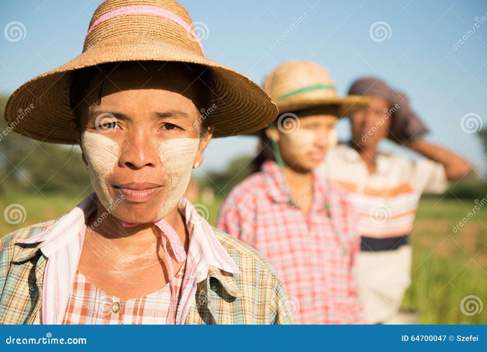 Portrait traditionnel d agriculteurs de Myanmar d Asiatique