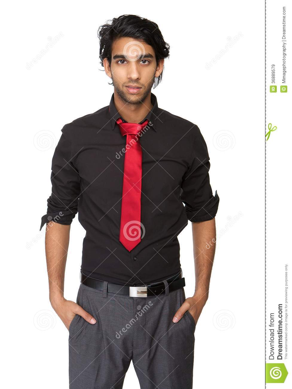 Portrait Of A Trendy Young Man In Black Shirt And Tie Royalty Free ...