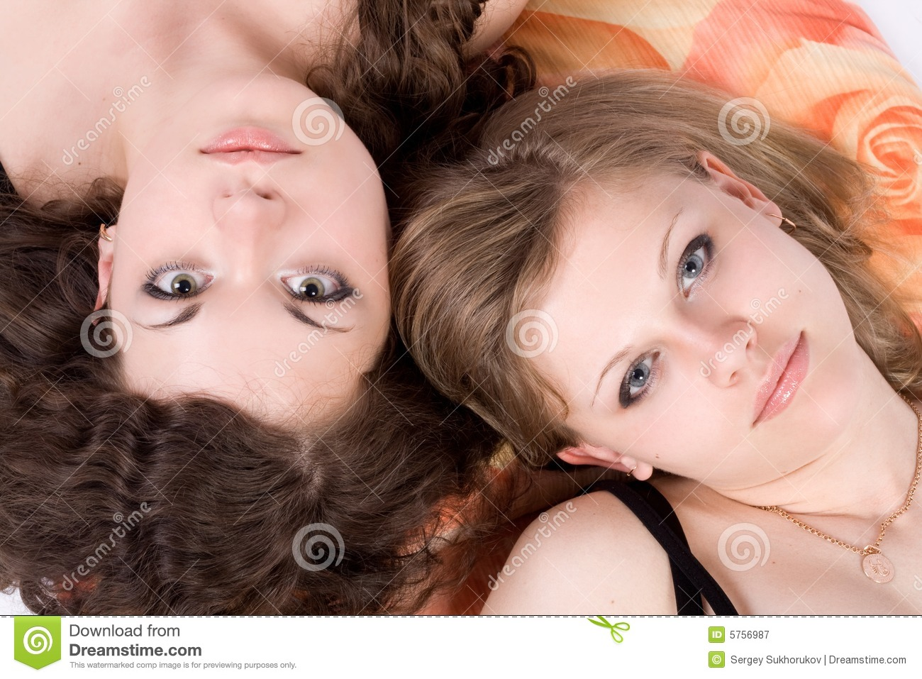 Portrait of the two beauty young women