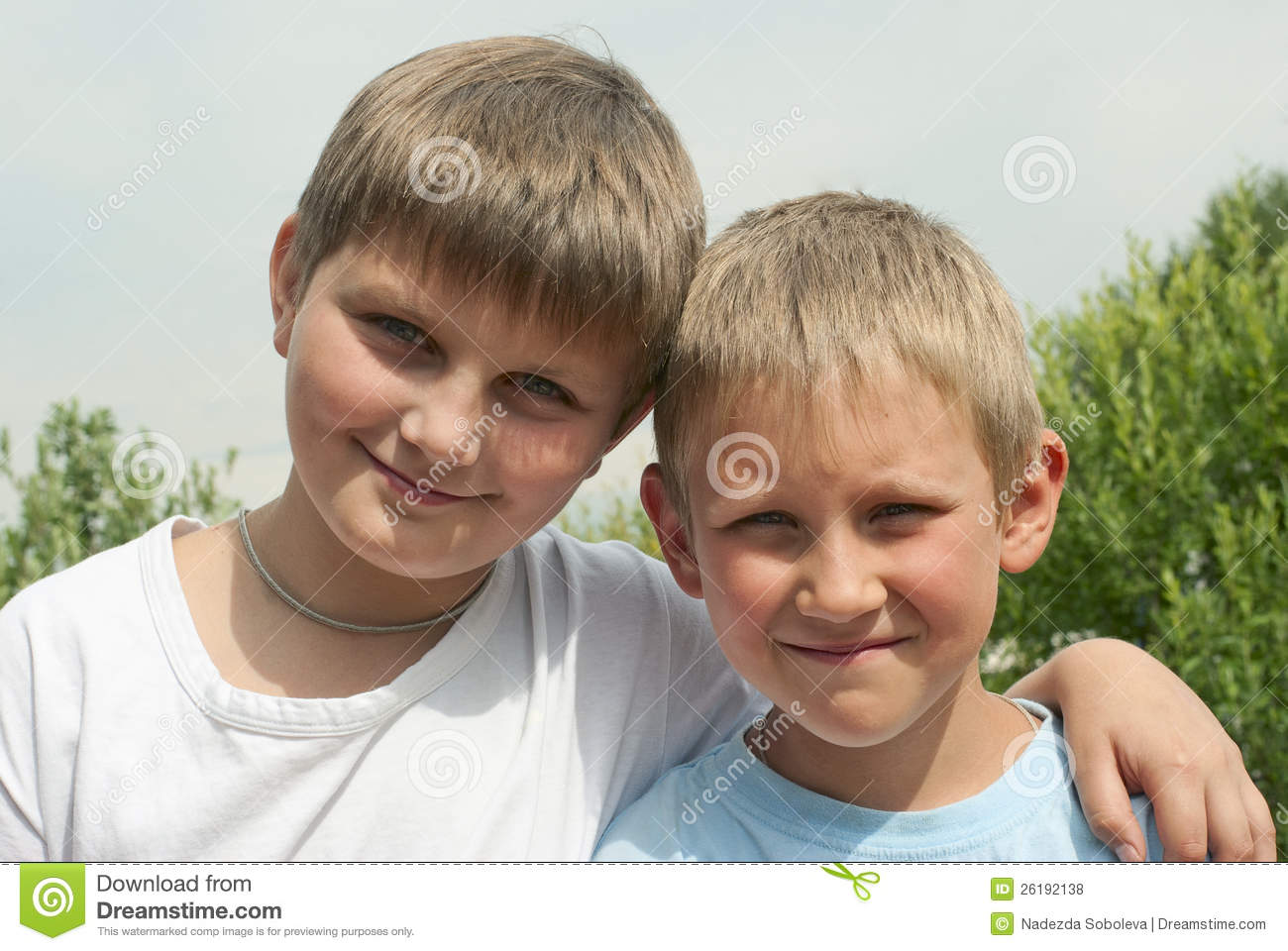 Download Portrait Of Two Boys (6 And 10 Years) Stock Photo - Image of joyful, modern: 26192138