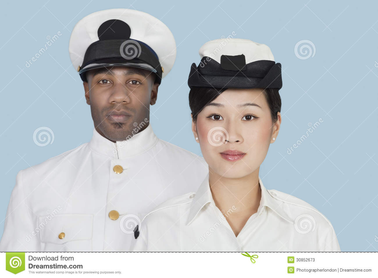 Download Portrait Of Two Multi-ethnic US Navy Officers Over Light Blue Background Stock Image - Image of background, blue: 30852673