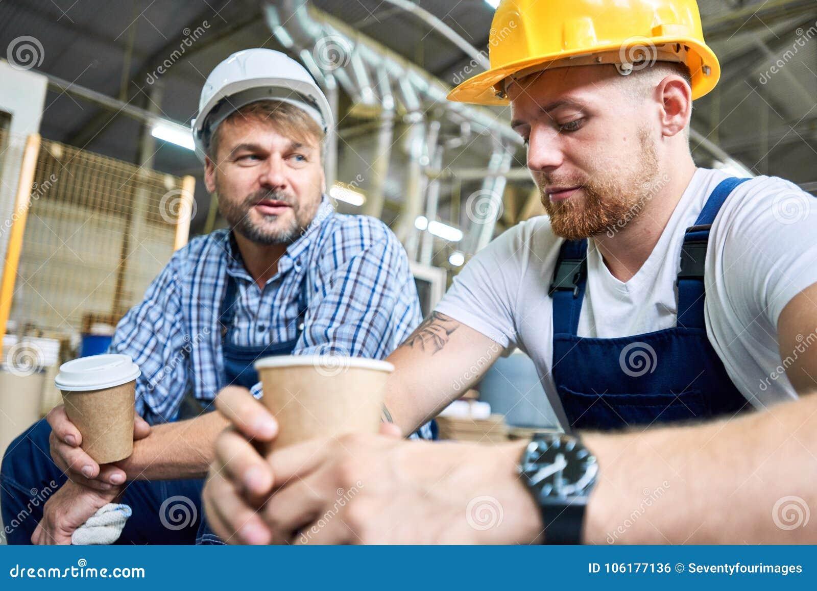 Take Break Coffeebreak : Builders on coffee break stock photo image of workman