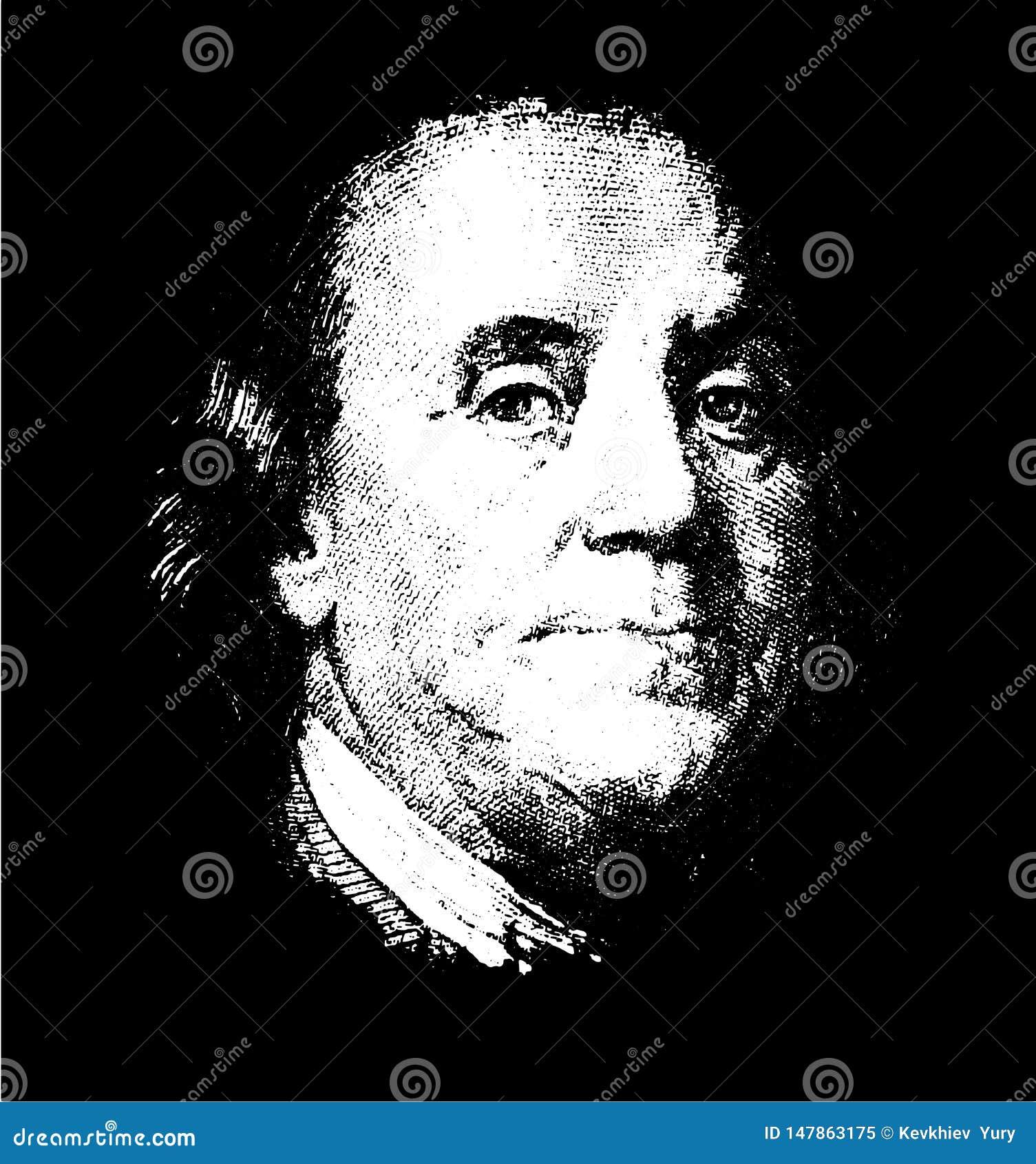Portrait of U.S. president Benjamin Franklin vector tracing eps10