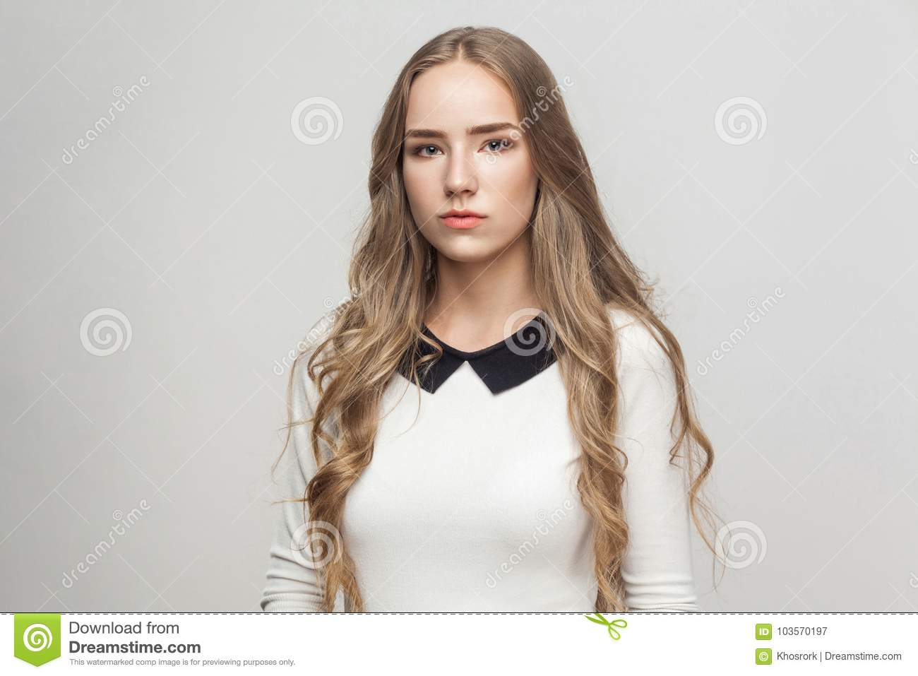 Portrait unhappy long haired beautiful girl