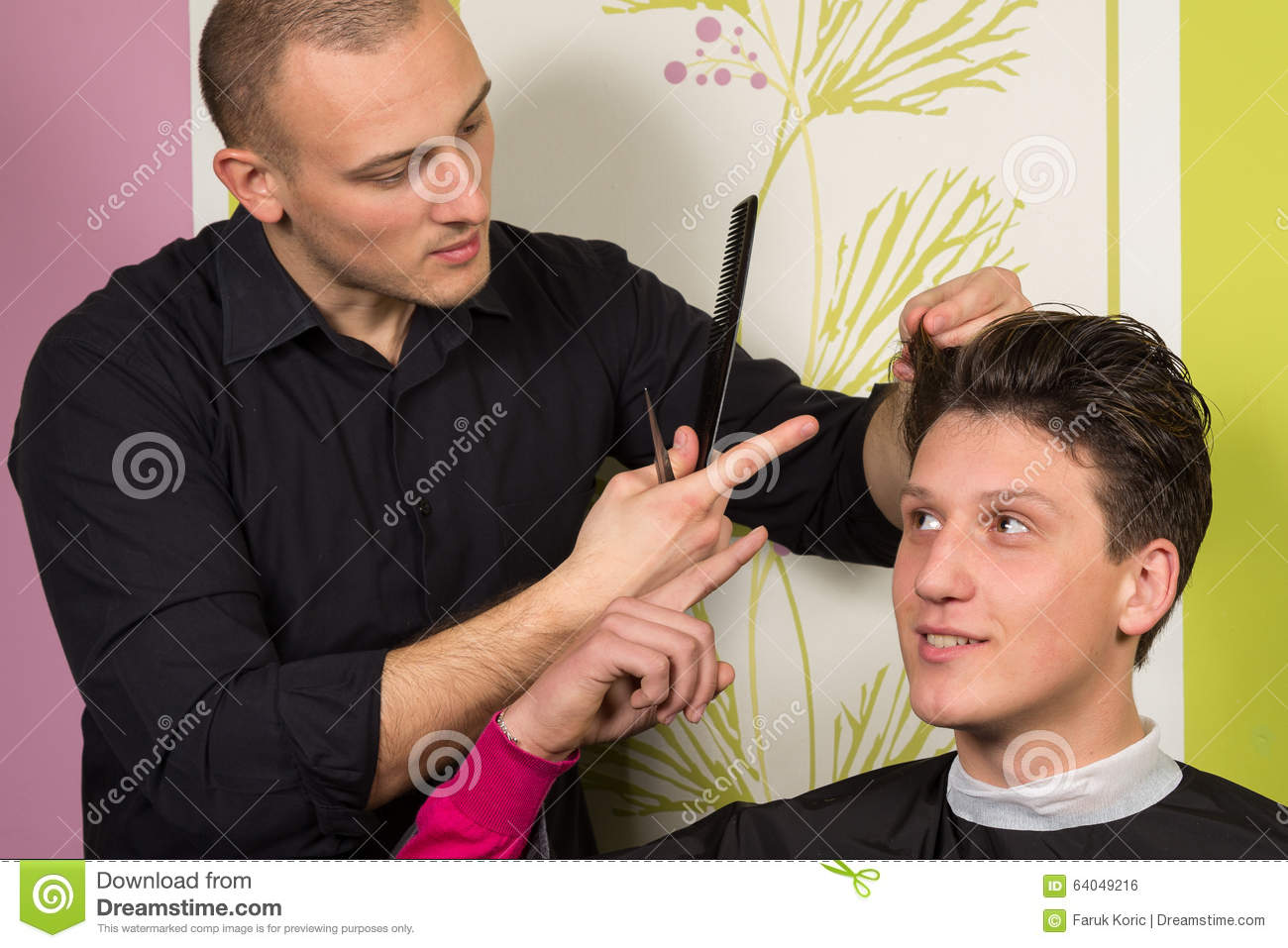 Portrait of unhappy young male at the hairdressing salon