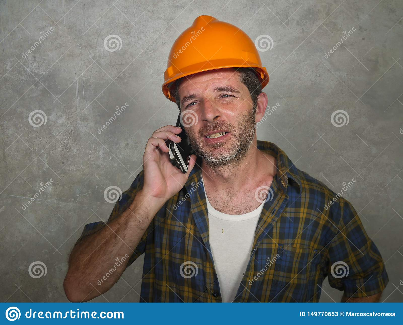 Portrait Of Upset Construction Worker Or Stressed ...