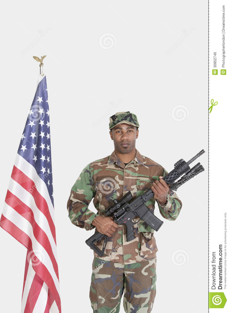 Portrait Of US Marine Corps Soldier With M4 Assault Rifle ...