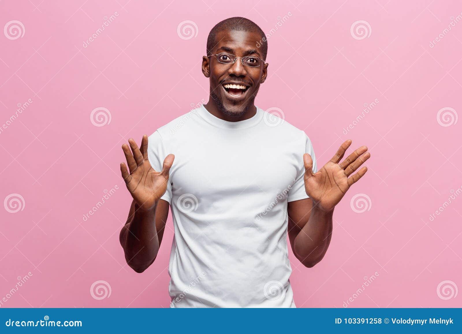 Happy black american man