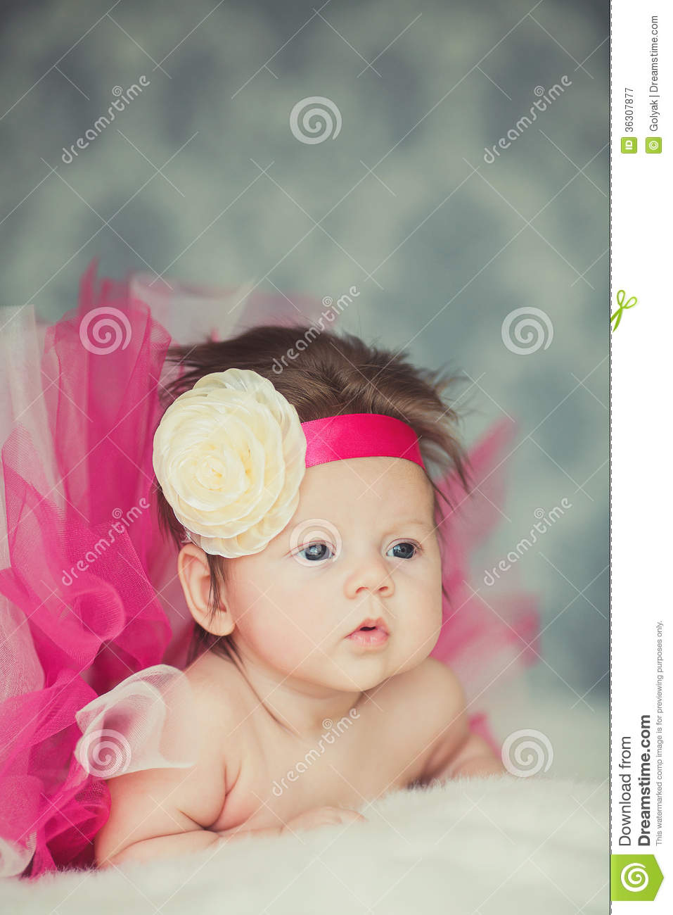 portrait of very sweet little baby girl stock image - image of child