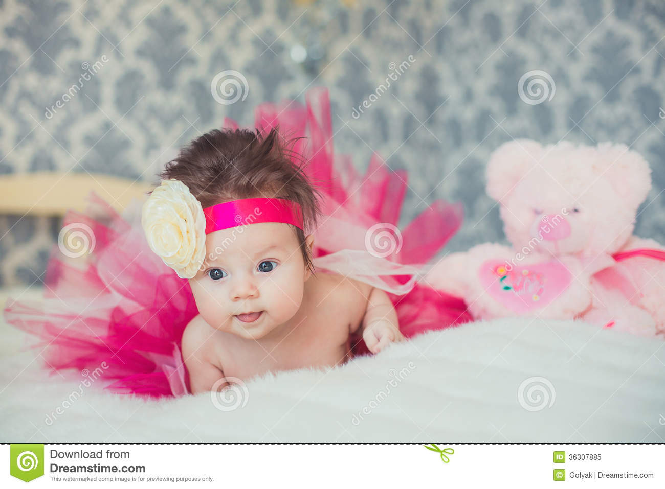 portrait of very sweet little baby girl stock image - image of