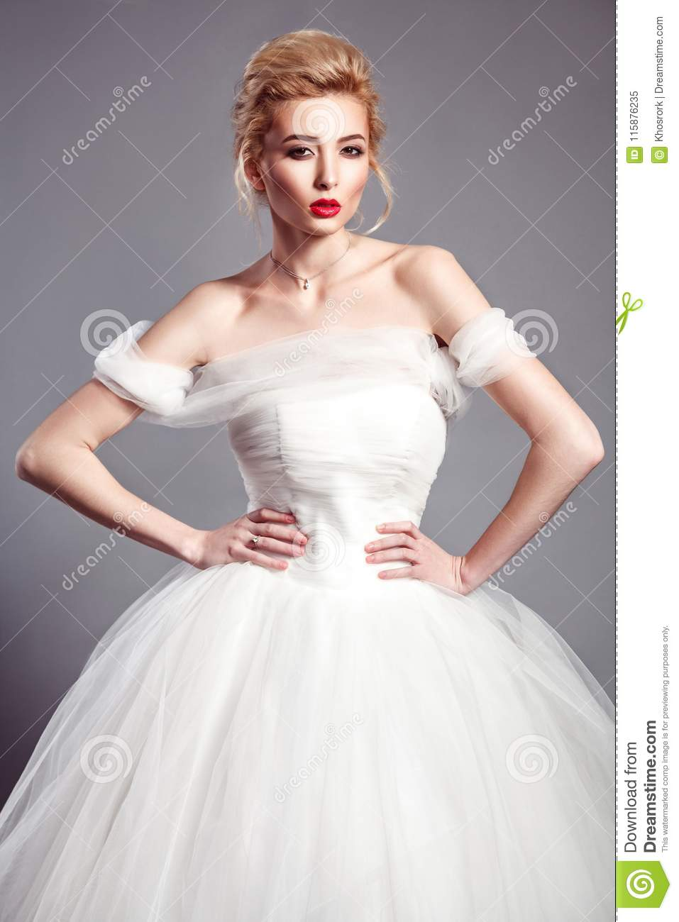 Portrait In Vogue Style Of Fashion Beautiful Bride In Wedding Dr