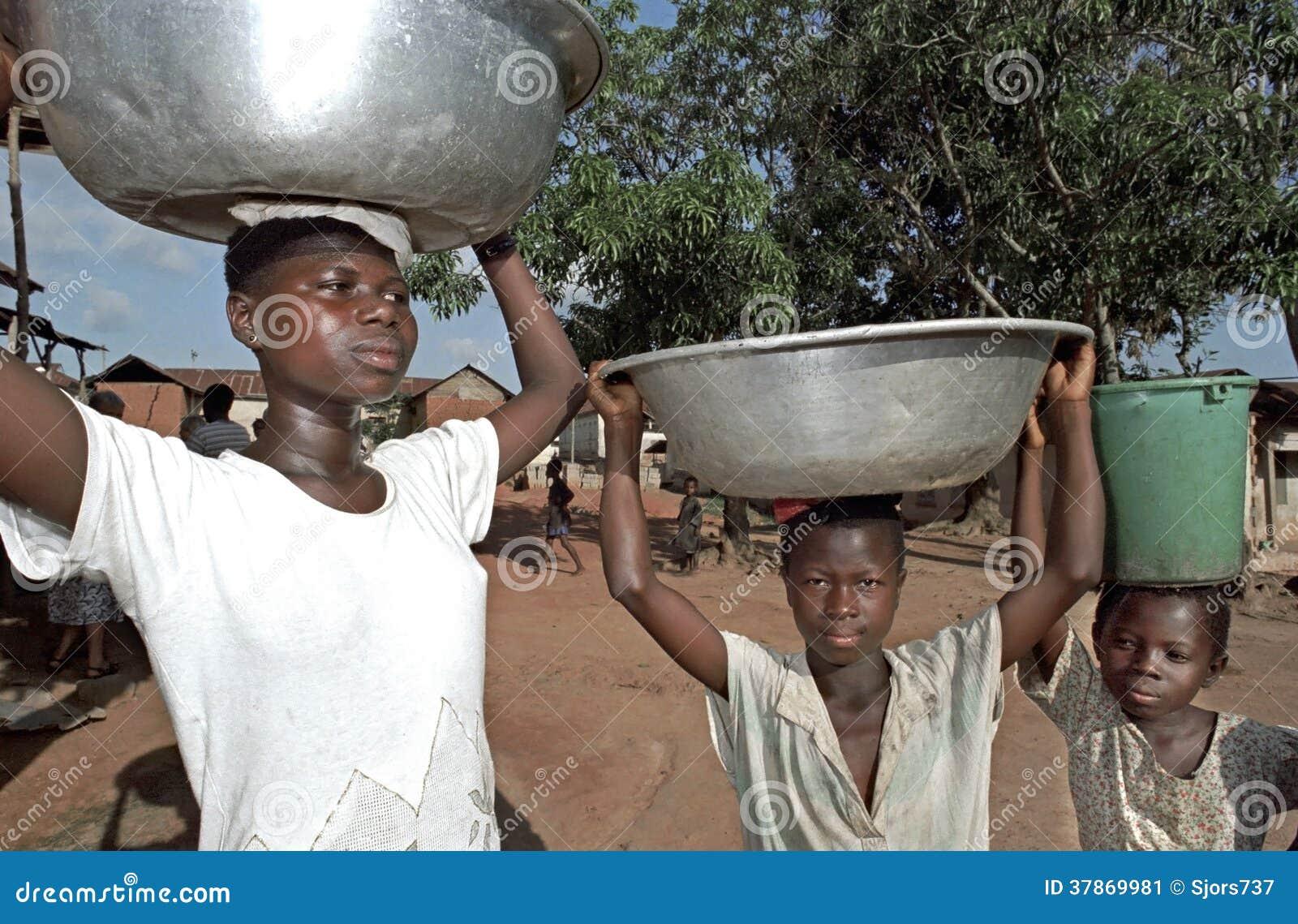 Portrait Of Water Carrying Ghanaians Girls, Ghana ...