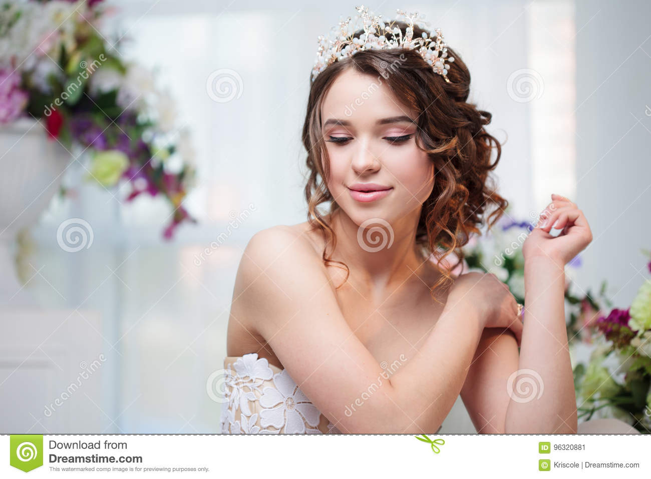 Portrait Wedding Hair Style Brunette With Curly Hair Beautiful