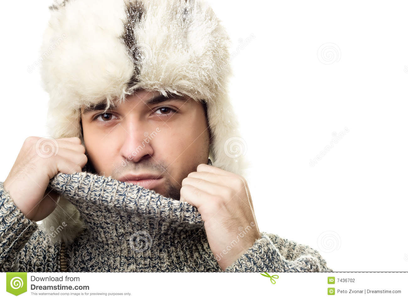 Handsome teen boy in white fur hat stock photography - Traumzimmer fur teenager ...