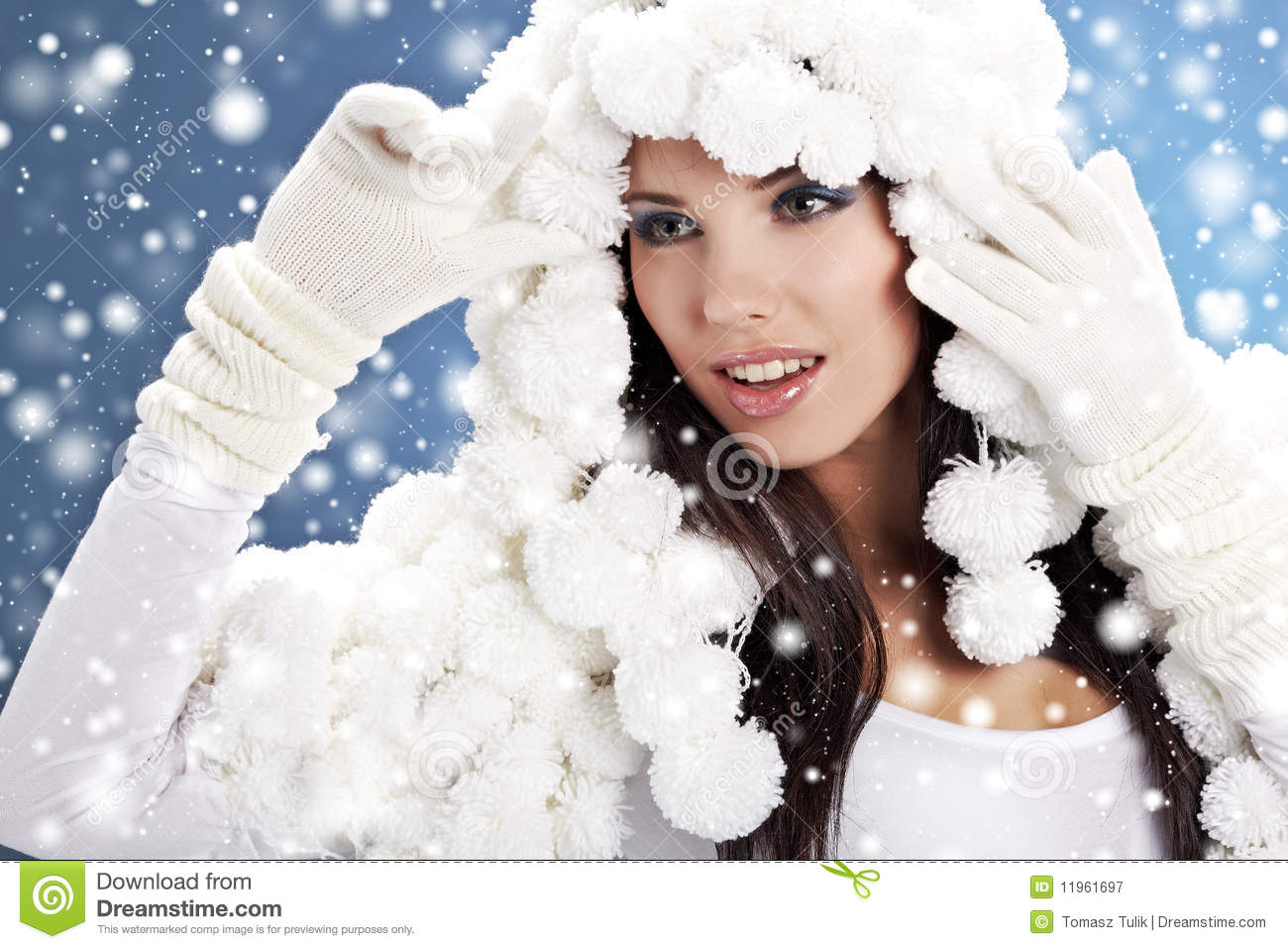 Portrait Of A Winter Woman Pom Pon Hat