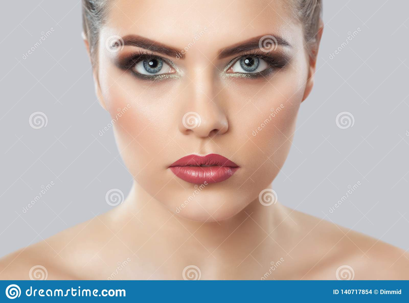 Portrait of a woman with beautiful make-up. Professional makeup and skin care
